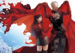 1boy 1girl archer armor black_hair black_legwear black_skirt body_armor cape cape_lift clouds covering dark_skin dark_skinned_male fate/stay_night fate_(series) field_of_blades hair_ribbon highres holding_cape jakojakojako long_hair planted_sword planted_weapon pleated_skirt red_cape ribbon short_hair skirt sky smile sweater sword thigh-highs tohsaka_rin turtleneck two_side_up unlimited_blade_works weapon white_hair zettai_ryouiki