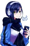 1girl absurdres blue_hair casual cellphone closed_mouth commentary_request darling_in_the_franxx eyebrows_visible_through_hair green_eyes hair_between_eyes hair_ornament hairclip headphones highres holding holding_cellphone holding_phone hood hood_down hoodie ichigo_(darling_in_the_franxx) looking_at_viewer phone short_hair smartphone smile solo yoshi2_oide