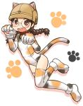 animal_costume animal_ears bell bell_collar black_hair blush_stickers braid brown_eyes brown_hat calico cat_costume cat_ears cat_tail collar commentary dutch_angle elbow_gloves fake_animal_ears fake_tail fukuda_(girls_und_panzer) girls_und_panzer glasses gloves hat helmet leg_up leotard long_hair open_mouth paw_gloves paw_pose paw_print paw_shoes paws print_gloves print_legwear print_leotard round_eyewear shadow shoes standing standing_on_one_leg tail thigh-highs twin_braids twintails uona_telepin white_background