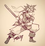 1boy boots chrono_trigger crono from_side full_body graphite_(medium) greyscale headband highres male_focus monochrome neckerchief robert_porter serious sheath signature solo spiky_hair sword traditional_media unsheathing weapon wristband