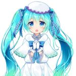 1girl bangs blue_bow blue_eyes blue_hair blue_neckwear blush bow bowtie capelet dress eyebrows_visible_through_hair floating_hair gloves hair_between_eyes hands_clasped hat hatsune_miku long_hair open_mouth ousawa_kanata own_hands_together simple_background solo striped striped_bow striped_neckwear twintails upper_body very_long_hair vocaloid white_background white_capelet white_dress white_gloves white_hat winter_clothes