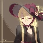 1girl black_dress blonde_hair bow brown_background capelet doremi dress frilled_hat frills hat hat_bow hat_ribbon korean long_hair long_sleeves looking_at_viewer original parted_lips red_bow red_eyes red_hat ribbon signature solo upper_body
