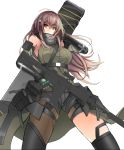 1girl arm_strap armor armpits assault_rifle asymmetrical_legwear bangs brown_eyes brown_hair case closed_mouth clothes_around_waist collarbone detached_sleeves digi-mind_update_(girls_frontline) elbow_pads eyebrows_visible_through_hair floating_hair gauntlets girls_frontline gloves gun hair_between_eyes hand_in_hair headset highres holding holding_gun holding_weapon jacket_around_waist long_hair m4_carbine m4a1_(girls_frontline) magazine_(weapon) multicolored_hair pigat pouch ribbed_legwear ribbed_sweater rifle scarf scope sidelocks simple_background skindentation solo strap streaked_hair sweater sweater_vest thigh_strap thighs two-tone_hair weapon weapon_case white_background wind wind_lift