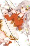 1girl :d amamiya_chiharu blue_flower blush bow braid brown_bow brown_eyes commentary_request controller dress dutch_angle flower game_controller green_flower grey_hair hair_flower hair_ornament holding jacket long_hair long_sleeves looking_at_viewer open_mouth orange_jacket original red_flower red_footwear shoes smile solo striped striped_bow striped_legwear thigh-highs very_long_hair white_background white_dress yellow_flower