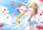 1girl animal ass bai_yemeng bare_shoulders bird blonde_hair blue_eyes blue_sky blurry blurry_foreground bouquet bow braid breasts closed_mouth clouds commentary_request day depth_of_field dove elbow_gloves fate/grand_order fate_(series) flower gloves hair_bow headpiece jeanne_d'arc_(fate) jeanne_d'arc_(fate)_(all) large_breasts leotard long_hair outdoors outstretched_arm petals red_flower red_rose rose see-through signature sky smile solo strapless strapless_leotard very_long_hair white_bow white_gloves white_leotard