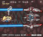 big_core blonde_hair blue_shirt chibi closed_eyes commentary crying e16a_zuiun flying gambier_bay_(kantai_collection) gameplay_mechanics gradius gun hairband kantai_collection laser long_hair nobuyoshi-zamurai open_mouth parody shirt twintails weapon