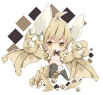 1girl :q ahoge bangs black_bow black_legwear blush bow bow_panties breasts brown_wings chibi claws closed_mouth commentary_request curled_horns eyebrows_visible_through_hair hair_between_eyes horns light_brown_hair long_hair looking_at_viewer milkpanda monster_hunter navel no_shoes orange_hair panties personification small_breasts smile solo stone tail thigh-highs tongue tongue_out underwear white_panties winged_arms wings
