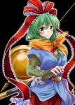 1girl black_background breasts cowboy_shot eyebrows_visible_through_hair frilled_ribbon frilled_skirt frills front_ponytail green_eyes green_hair hair_between_eyes hair_ribbon hand_on_hilt kagiyama_hina katana large_breasts long_hair looking_at_viewer miniskirt orange_scarf red_ribbon red_skirt ribbon scarf sheath sheathed shirt skirt smile solo standing sword tied_hair touhou unya weapon