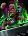 1girl absurdres aqua_eyes asymmetrical_hair bare_arms bare_shoulders bioluminescence breasts cleavage collared_vest dark_skin dj dutch_angle energy finger_to_mouth fingerless_gloves gloves glowing_skin green_hair green_skin hand_up headphones high_collar highres iida_(splatoon) lips long_hair looking_at_viewer makeup mascara medium_breasts mole mole_under_mouth multicolored multicolored_skin octarian parted_lips phonograph pink_pupils purple_hair reagan_long smile solo splatoon splatoon_2 suction_cups tentacle_hair turntable unzipped upper_body vest zipper zipper_pull_tab