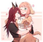 2girls ? animal_ears bang_dream! bangs blue_eyes blush bone crop_top dog_ears dog_tail gloves green_eyes hug long_hair low_twintails midriff mouth_hold multiple_girls navel one_eye_closed open_mouth paw_gloves paws pink_hair re_ghotion red_collar redhead short_sleeves skirt spoken_flying_sweatdrops spoken_question_mark tail twintails udagawa_tomoe uehara_himari
