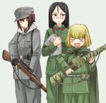 3girls :d ammunition_pouch bangs belt black_belt black_gloves black_hair blonde_hair blue_eyes blush_stickers brown_eyes brown_hair cape closed_eyes commentary cosplay emblem enemy_at_the_gates fang fingerless_gloves frown girls_und_panzer glasses gloves green_cape green_jacket green_pants grey_background grey_coat grey_hat grey_pants gun holding holding_gun holding_weapon iron_cross jacket katyusha long_hair long_sleeves looking_at_another military military_uniform multiple_girls newspaper nishizumi_maho nonna open_mouth pants pince-nez pouch rifle round_eyewear sam_browne_belt scope short_hair smile sniper_rifle standing swept_bangs uniform uona_telepin v-shaped_eyebrows weapon weapon_request