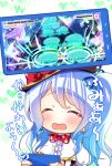 1girl ^_^ bang_dream! bangs blue_hair blue_ribbon blush bow cellphone center_frills closed_eyes commentary_request earrings eyebrows_visible_through_hair gameplay_mechanics hair_ribbon hat hat_bow health_bar heart holding holding_phone jellyfish jewelry long_hair matsubara_kanon one_side_up open_mouth phone playing_games polka_dot_neckwear red_bow red_neckwear ribbon smartphone smile smiley_face solo star translation_request tsurugi_hikaru upper_body