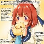 1girl blue_neckwear blush braid colored_pencil_(medium) commentary_request dated eating etorofu_(kantai_collection) food hat holding holding_food kantai_collection kirisawa_juuzou long_sleeves neckerchief numbered redhead sailor_hat school_uniform serafuku short_hair smile solo traditional_media translation_request twin_braids twitter_username violet_eyes white_hat yellow_background