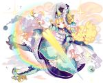 1girl blonde_hair blue_dress blue_footwear bonnet boots cherrypin dress frills full_body holding holding_weapon horn kai-ri-sei_million_arthur knee_boots lance long_hair looking_at_viewer million_arthur_(series) polearm qilin_(mythology) rainbow solo sparkle too_many too_many_frills weapon