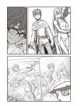 1boy 774_(nanashi) closed_mouth comic drawing glasses hachiouji highres ijiranaide_nagatoro-san mechanical_pencil monochrome pencil short_hair silent_comic smile solo