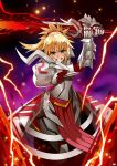 1girl absurdres armor bangs blonde_hair braid clarent clenched_teeth electricity fate/apocrypha fate_(series) french_braid gauntlets green_eyes highres holding holding_sword holding_weapon long_hair looking_at_viewer mk_(lazymk) mordred_(fate) mordred_(fate)_(all) ponytail shoulder_armor solo sword teeth weapon