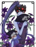 1girl alternate_costume black_lily_widowmaker breasts china_dress chinese_clothes covering_mouth cowboy_shot dress earrings fan floral_background floral_print flower folding_fan head_mounted_display jewelry lily_(flower) long_hair looking_at_viewer medium_breasts overwatch ponytail purple_hair purple_skin solo stud_earrings very_long_hair white_background widowmaker_(overwatch) yellow_eyes zonana