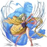 1boy 1girl arm_up armpits artist_request bracer cape child final_fantasy final_fantasy_iv fingerless_gloves gem gloves green_eyes green_hair hair_ornament leotard long_hair muscle navy_blue_leotard official_art open_mouth outstretched_arm rydia sandals sarong shouting single_glove source_request titan_(final_fantasy) wind wind_lift yellow_cape yellow_sarong