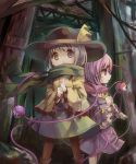 2girls :o ankle_boots blouse blue_blouse boots brown_legwear clenched_hands eyebrows_visible_through_hair feet_out_of_frame frilled_sleeves frills green_eyes green_skirt hair_between_eyes hat hat_ribbon heart highres komeiji_koishi komeiji_satori lavender_hair long_sleeves looking_at_viewer looking_to_the_side multiple_girls pantyhose parted_lips pink_skirt profile ribbon ruins rust scarf sekisei_(superego51) short_hair siblings silver_hair sisters skirt sweatdrop third_eye touhou violet_eyes wind wire yellow_blouse