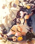 1girl ;d acorn berries black_hair bow brown_eyes bug butterfly cherrypin dress hair_bow hat insect ladybug leaf long_hair minigirl needle one_eye_closed open_mouth orange_dress outdoors pinecone plant sitting smile sunlight tenkuu_no_crystalia