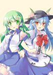2girls blue_hair blush bow_tie breasts buttons detached_sleeves frills frog green_eyes green_hair hair_accessories hat hinanawi_tenshi kochiya_sanae leaves open_mouth peaches red_eyes skirt smile snake tareme thigh-highs touhou tsurime usakyomi vest