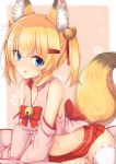 1girl :o aixioo animal_ears bangs bare_shoulders bell blonde_hair blue_eyes blush bow breasts chinese_commentary collarbone commentary_request detached_sleeves eyebrows_visible_through_hair fang fox_ears fox_girl fox_tail hair_bell hair_between_eyes hair_ornament hair_ribbon hairclip highres jingle_bell kemomimi_oukoku_kokuei_housou long_sleeves medium_breasts mikoko_(kemomimi_oukoku_kokuei_housou) navel panties parted_lips pleated_skirt red_bow red_ribbon red_skirt ribbon ribbon-trimmed_legwear ribbon_trim sidelocks skirt sleeves_past_fingers sleeves_past_wrists solo tail thigh-highs two_side_up underwear white_legwear white_panties wide_sleeves