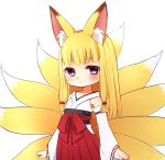 1girl animal_ears blonde_hair blush closed_mouth detached_sleeves eyebrows_visible_through_hair fox_ears fox_tail hakama japanese_clothes kai_himo long_sleeves looking_at_viewer multiple_tails original red_hakama simple_background solo standing tail violet_eyes white_background wide_sleeves