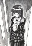 1girl dress finger_to_mouth gamerag gokou_ruri greyscale highres lolita_fashion long_hair mole mole_under_eye monochrome older ore_no_imouto_ga_konna_ni_kawaii_wake_ga_nai scan solo translation_request