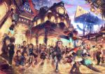 6+boys 6+girls blue_eyes blush breasts brown_legwear closed_eyes closed_mouth cover dark_skin eyebrows_visible_through_hair katou_tabihito kneehighs large_breasts long_hair looking_at_another looking_away multiple_boys multiple_girls one_eye_closed open_mouth original outdoors parted_lips red_eyes short_hair silver_hair smile teeth telescope thigh-highs tongue tongue_out white_hair white_legwear