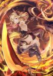 1girl :o absurdres ass bare_shoulders blonde_hair boots dragon_girl dual_wielding fantasy flaming_sword flat_chest full_body highres horns looking_at_viewer original slashing steel-toe_boots stone sword violet_eyes weapon yashiron2011