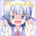 1girl blue_background blue_bow blue_eyes blue_hair blush bow cirno claw_pose collared_shirt commentary_request dress_shirt fang hair_bow hands_up highres long_hair looking_at_viewer makuran neck_ribbon nose_blush open_mouth pink_ribbon puffy_short_sleeves puffy_sleeves ribbon shirt short_sleeves solo sparkle squiggle tears touhou translation_request two-tone_background white_background white_shirt