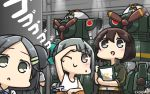 3girls around_corner black_eyes black_hair blush brown_eyes brown_hair commentary_request dated from_behind g_gundam grey_hair gundam hair_ornament hairpin hamu_koutarou hayasui_(kantai_collection) highres kantai_collection kuroshio_(kantai_collection) mecha mobile_suit_gundam multiple_girls nether_gundam one_eye_closed open_mouth ponytail short_hair smile sparkle yuubari_(kantai_collection)