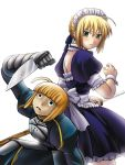 2girls ahoge armor artist_request artoria_pendragon_(all) back-to-back blonde_hair blush fate/stay_night fate_(series) green_eyes katana knife looking_at_another maid maid_apron maid_dress ribbon saber sader simple_background weapon