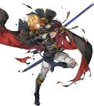 1boy aless_(fire_emblem) angry attack bared_teeth black_cape black_capelet black_coat black_footwear blonde_hair boots bruise cape capelet clenched_teeth coat collar cravat cuts damaged fire_emblem fire_emblem:_seisen_no_keifu fire_emblem_heroes highres holding holding_sword holding_weapon injury lips looking_to_the_side male_focus medium_hair mystletainn official_art p-nekor pants scowl serious sheath shoulder_pads sidelocks solo sword teeth torn_cape torn_capelet torn_clothes torn_coat torn_pants weapon white_pants yellow_eyes