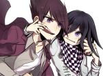 2boys anger_vein bangs black_hair checkered checkered_neckwear checkered_scarf collarbone commentary_request danganronpa_(series) danganronpa_v3:_killing_harmony facial_hair fangs finger_in_another's_mouth grey_jacket grey_shirt hair_between_eyes hand_on_another's_face jacket kitsunebi_v3kokonn long_sleeves looking_at_another male_focus momota_kaito multiple_boys open_clothes open_mouth open_shirt ouma_kokichi pink_jacket scarf shiny shiny_hair shirt short_hair simple_background teeth upper_body violet_eyes