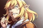 1girl asutora biting blonde_hair clenched_hand clenched_teeth commentary_request copyright_request crying crying_with_eyes_open fingernails green_eyes hand_up lip_biting mizuhashi_parsee pointy_ears sanpaku short_hair snot solo tears teeth touhou trembling