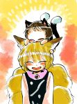 2girls animal_ears blonde_hair blush brown_hair cat_ears cat_tail chen closed_eyes commentary_request eyebrows_visible_through_hair fox_ears fox_tail highres komaku_juushoku long_sleeves multiple_girls multiple_tails on_head short_hair smile sweatdrop tail touhou yakumo_ran younger