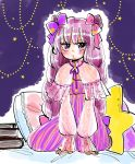 1girl book book_stack bow braid commentary_request dress eyebrows_visible_through_hair hair_bow hair_ribbon hands_on_floor highres komaku_juushoku long_hair long_sleeves looking_at_viewer patchouli_knowledge pillow polka_dot purple_hair ribbon sitting solo star starry_background striped striped_dress touhou twin_braids violet_eyes yokozuwari