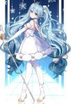 1girl absurdres boots chuor_(chuochuoi) dress elbow_gloves from_side gloves hatsune_miku headset high_heels highres long_hair scepter smile snowflakes solo twintails very_long_hair vocaloid white_dress white_gloves
