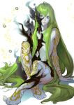 1boy androgynous arm_support enkidu_(fate/strange_fake) fate/strange_fake fate_(series) green_hair long_hair male_focus nigorokke nude simple_background sitting smile solo tattoo white_background