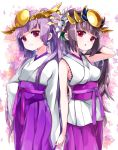 2girls :o bangs blush breasts brown_hair closed_mouth commentary_request eyebrows_visible_through_hair flower hair_flower hair_ornament hakama hand_in_hair headpiece highres japanese_clothes kimono long_hair long_sleeves medium_breasts multiple_girls obi parted_lips pikomarie ponytail purple_hair purple_hakama puzzle_&_dragons sash short_kimono sleeveless sleeveless_kimono sleeves_past_fingers sleeves_past_wrists twintails very_long_hair violet_eyes white_background white_flower white_kimono wide_sleeves yomi_(p&d)