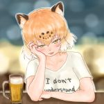 1girl absurdres alcohol alternate_costume animal_ears ao244_oekaki arm_rest arm_support bangs bare_arms beer beer_mug blurry blurry_background blush clothes_writing collarbone commentary_request cup drinking_glass english eyebrows_visible_through_hair hair_between_eyes half-closed_eyes hand_on_own_cheek head_rest highres jaguar_(kemono_friends) jaguar_ears kemono_friends light_brown_hair looking_at_viewer multicolored_hair naughty_face shirt short_hair short_sleeves smile solo t-shirt tongue tongue_out two-tone_hair upper_body white_hair white_shirt yellow_eyes