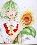 1girl :d ascot asutora closed_eyes collared_shirt commentary_request eyebrows_visible_through_hair facing_viewer flower green_hair hands_up holding holding_flower kazami_yuuka open_mouth photo red_vest shirt short_hair smile solo sunflower touhou traditional_media upper_body vest white_shirt wing_collar yellow_neckwear
