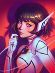 1girl bangs black_eyes bodysuit breasts bright_pupils cable closed_mouth commentary copyright_request drop_shadow english_commentary highres ilya_kuvshinov light_smile lips looking_at_viewer red_background robot_ears solo upper_body white_bodysuit