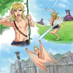 1boy blonde_hair character_request dodging flying_squirrel gliding grass guardian_(breath_of_the_wild) link long_hair monbetsu_kuniharu nintendo plant pointy_ears ponytail scar short_hair stretched_limb the_legend_of_zelda the_legend_of_zelda:_breath_of_the_wild vines weapon what