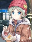 1girl asutora beanie blue_eyes breath brown_coat coat commentary_request copyright_request fingernails food food_request fork fur_trim green_hair hat hat_pin highres holding holding_food holding_fork long_sleeves looking_at_viewer outdoors parted_lips short_hair smiley_face solo upper_body