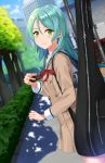1girl aqua_hair asato_(fadeless) bang_dream! blurry blurry_background blush brown_dress building bush cellphone clenched_hand commentary_request double-breasted dress dutch_angle eyebrows_visible_through_hair green_eyes guitar_case hair_between_eyes hikawa_sayo holding holding_phone instrument_case long_hair long_sleeves neck_ribbon outdoors phone red_neckwear ribbon sailor_dress sidewalk smartphone smile solo tree
