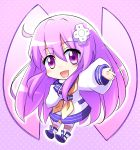 1girl :d blush chibi choujigen_game_neptune commentary d-pad d-pad_hair_ornament doria_(5073726) eyebrows_visible_through_hair hair_between_eyes hair_ornament horizontal-striped_legwear horizontal_stripes long_hair looking_at_viewer nepgear neptune_(series) open_mouth outstretched_arm power_symbol purple_hair smile solo striped striped_legwear violet_eyes
