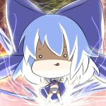 1girl bangs barefoot big_head blue_bow blue_dress blue_hair bow chibi cirno clenched_hands collared_shirt commentary_request dress dress_lift eyebrows_visible_through_hair hair_between_eyes hair_bow hands_up long_hair makuran navel o_o panties puffy_short_sleeves puffy_sleeves shirt short_sleeves sleeveless sleeveless_dress solo standing touhou underwear white_panties white_shirt