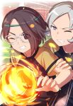 2boys bangs brown_hair character_request clenched_teeth commentary_request eyebrows_visible_through_hair fire grey_hair headband highres inazuma_eleven inazuma_eleven_(series) inazuma_eleven_ares_no_tenbin male_focus motion_lines multiple_boys one_eye_closed parted_bangs raglan_sleeves sekina short_sleeves shorts soccer_uniform sportswear teeth v-shaped_eyebrows violet_eyes yagihara_katsumi